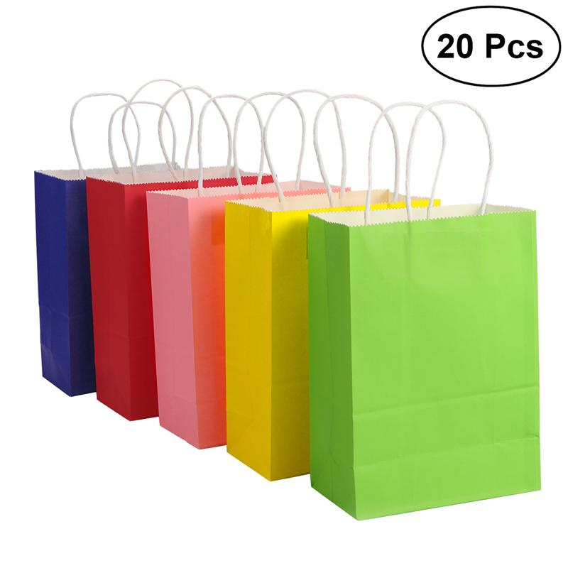 Us 10 45 49 Off Gift Bag 20pcs Kraft Paper Bags With Handle Party Birthday Wedding Graduation Baby Shower Ping Present In