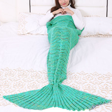 Winter Blanket Knitted Thinken Crochet Anti-pilling Nap Sexy Cozy Profile Throw Blankets Mermaid Tail