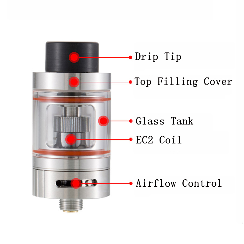 Vapor Storm Bodhi Sub Ohm Tank 2ml 0.3ohm Glass Electronic Cigarette Atomizer Top Filling 22mm Diameter OCC SSOCC EC2 Coil