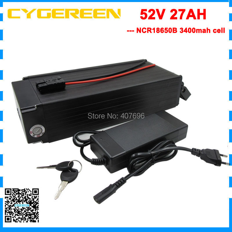 Free customs fee 1500W 51.8V 14S lithium battery 52V electric bike battery 52V 27AH use Panasonic 3400mah cell with 2A ChargerFree customs fee 1500W 51.8V 14S lithium battery 52V electric bike battery 52V 27AH use Panasonic 3400mah cell with 2A Charger