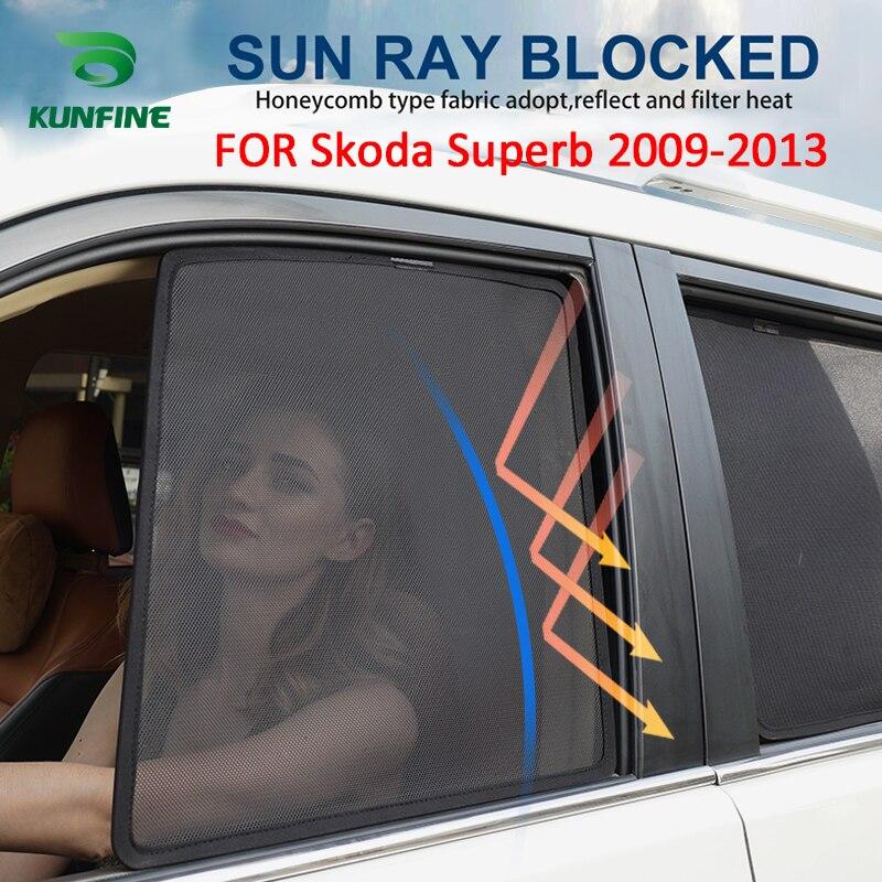 4PCS/Set Magnetic Car Side Window SunShades Mesh Shade Blind For Skoda Superb 2009 2010 2011 2012 2013 Car Window Curtian Black