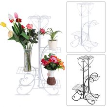 4 Tier Decorative Metal Flower Pot Plant Stand Rack Display Shelf Indoor Outdoor Garden Patio Warehouse Shelf(China)