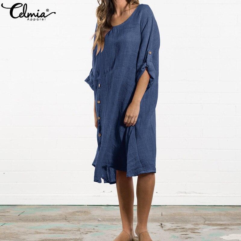 Celmia Summer Women Loose Mid-calf Dress Plus Size Sundress Asymmetrical Button Down Robe Vestidos Mujer 2019 Casual Tunic Shirt