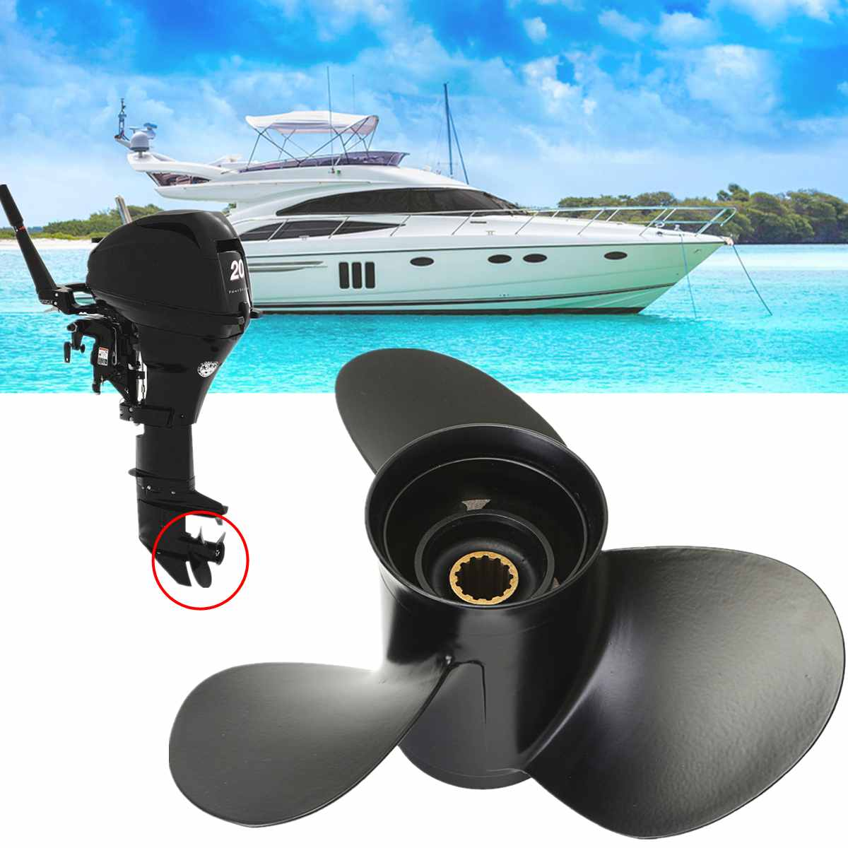 48 73136A40 10 3/8 x 13 Aluminum Alloy Marine Outboard Propeller For Mercury 25 70HP Black 3 Blades 13 Spline Tooth R Rotation-in Marine Propeller from Automobiles & Motorcycles    1