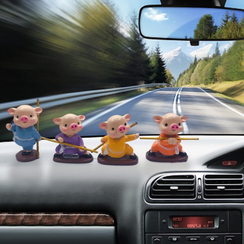 Mignon cochon Action Figure ornements voiture Miniature animaux Figurines voiture décor de bureau anniversaire cadeau jouets ornement accessoires