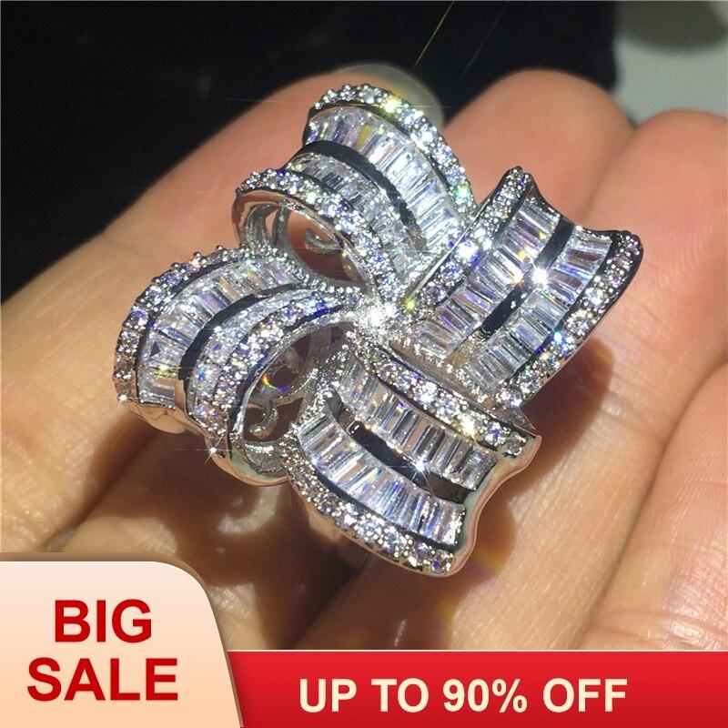 Bijoux de grande fleur élégant 925 bague en argent Sterling AAAAA Zircon Cz bagues de mariage de fiançailles pour les femmes cadeau de doigt de mariée