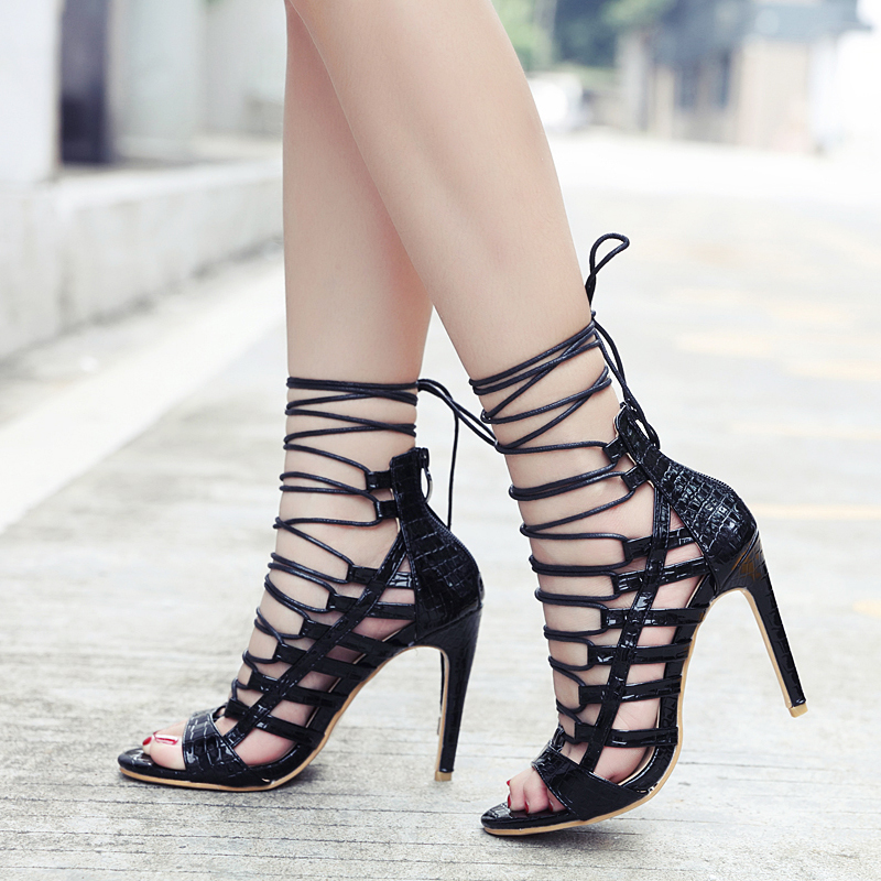 Women Horny Excessive Heels Pointed Toe Skinny Heel Sneakers Girls Cross-Tied Pumps Supper Excessive Heel Lace Up Sneakers sandalia feminina Excessive Heels, Low-cost Excessive Heels, Women Horny Excessive Heels...