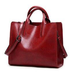 Sacos de couro genuíno do vintage mulheres mensageiro sacos cera óleo alta qualidade bolsas couro feminino senhoras bolsa ombro 2019 novo c836