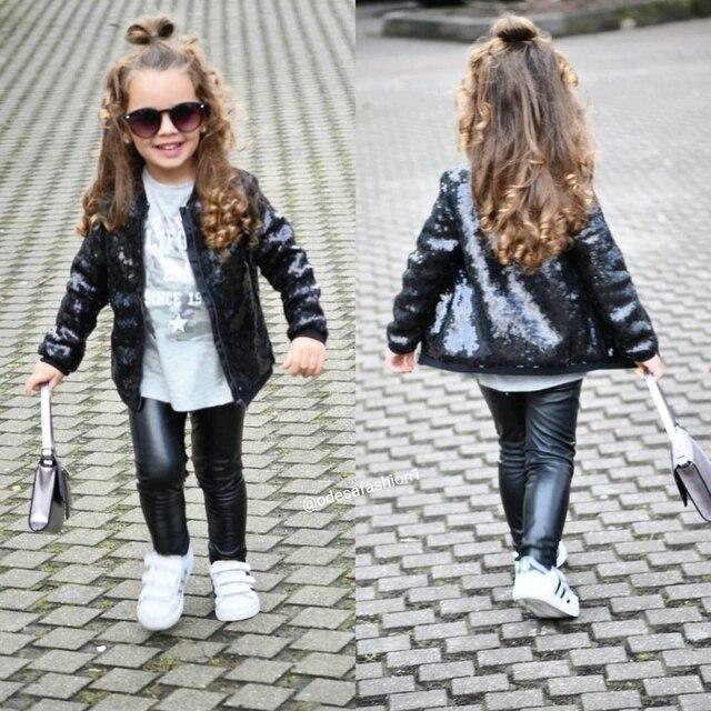 Дети с пайетками для девочек куртка блеск молнии пальто верхняя одежда куртки