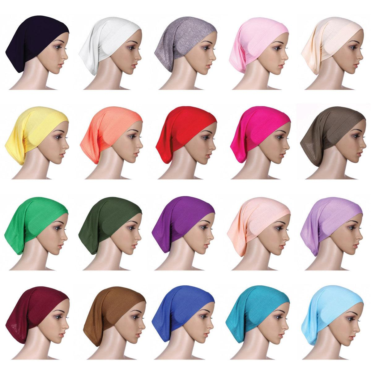 Muslim Women Head Scarf Cotton Underscarf Stretch Hijab Cover Headwrap Underscarf Cap Shawl Islam Scarf Inner Headband Bonnet(China)