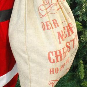 Image 4 - Big Size Merry Christmas Linen Gift Bag 2019 Santa Claus Sacks Drawstring Candy Bag Natal Noel New Year Xmas Home Decor Gift Bag