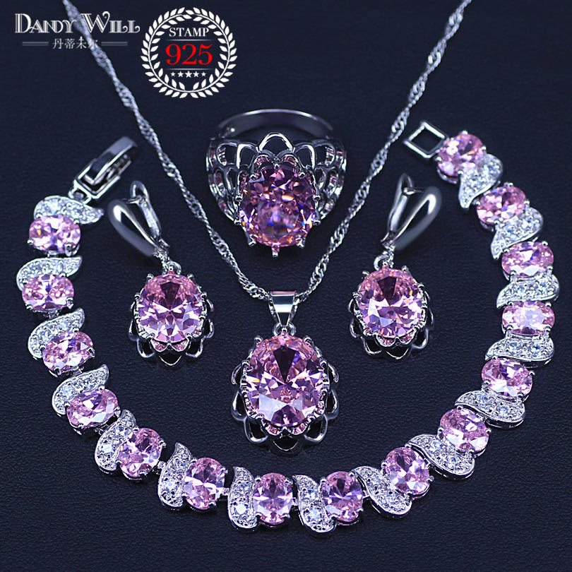 Incrível presente rosa cristal prata 925 traje conjunto de jóias para mulheres pulseira pingente colar brincos anel conjunto feminino