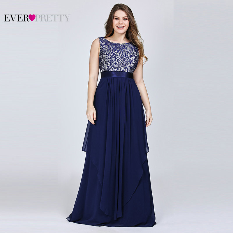 Plus Size Navy Blue   Bridesmaid     Dresses   Long Ever Pretty Lace A-Line Sleeveless Ruffles Cheap Formal Prom Party Gowns 2019