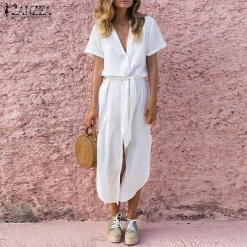 ZANZEA Fashion 2019 Summer Dress Women Cotton Linen V Neck Vestido Maxi Dress High Split Beach Long Shirt Vestidos Plus Size 5XL