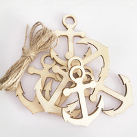 50 Pcs Wooden Hanging Plaque Anchor Pendant Wooden Party Decor Hanging Ornaments for DIY Table Craft