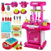1set Portable Electronic Children Kids Kitchen Cooking Girl Toy Cooker Play Set Cozinha de Brinquedo Cozinha Infantil For Kids