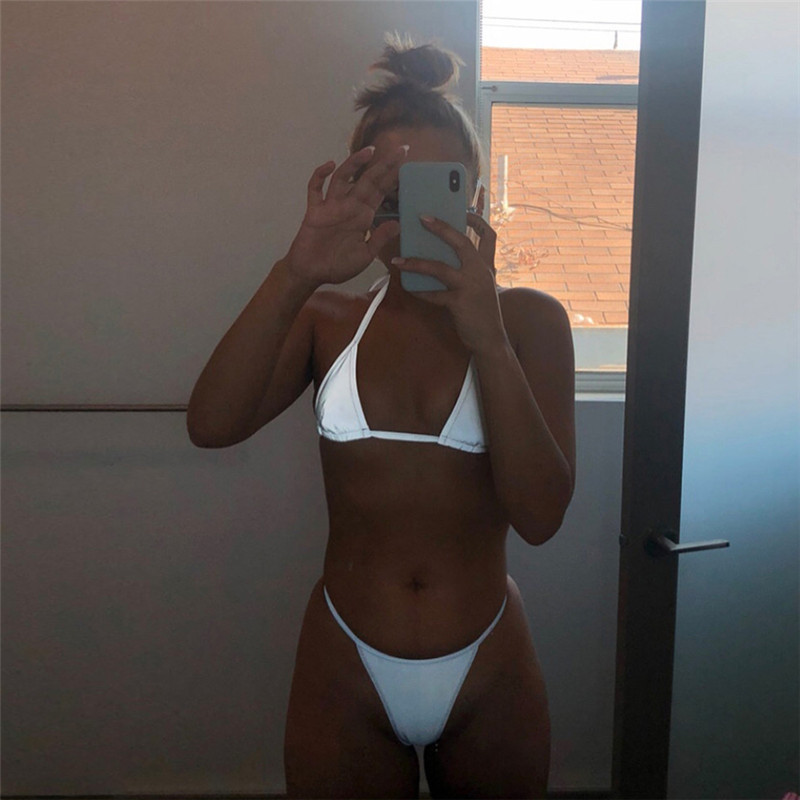 BOOFEENAA Silver Reflective Set Sexy Two Piece Set Halter Crop Top and Thong Shorts Beach Club Outfits 2pc Matching Sets C87AZ02 3