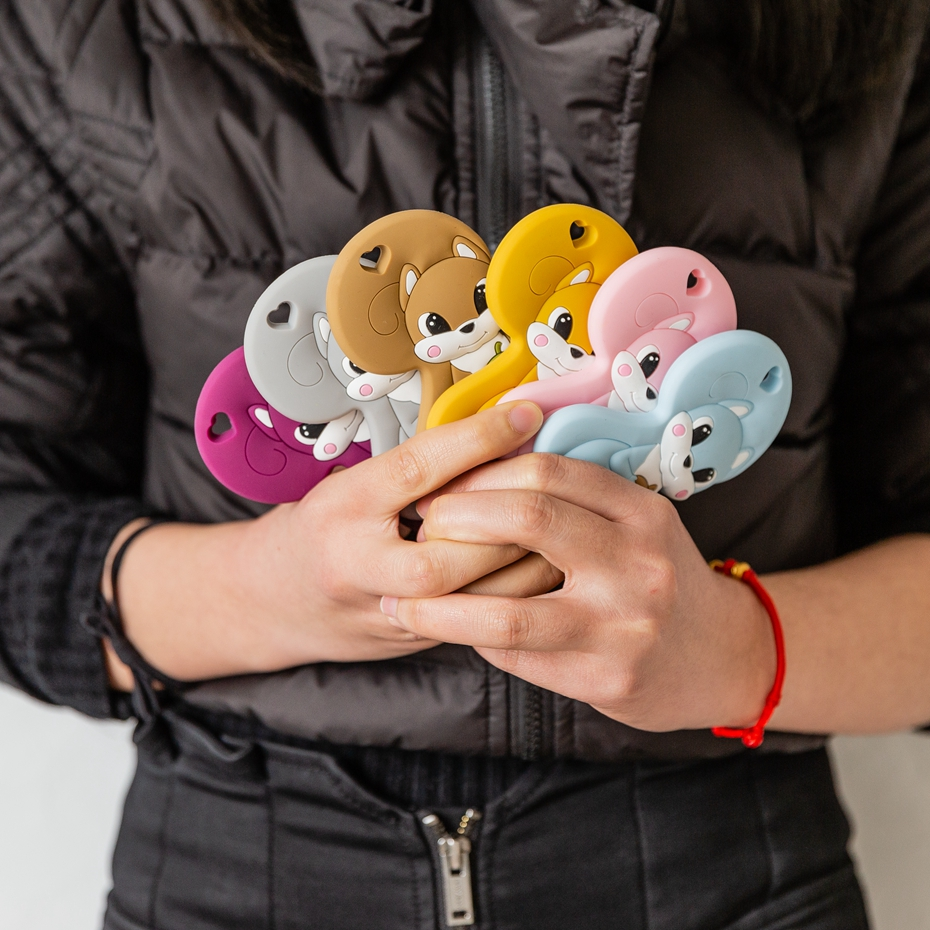 10Pc BPA Free Squirrel Baby Pearl Beads Silicone Teether Diy Making Handmade Nursing Necklace Infant Teething Baby Teether Toys