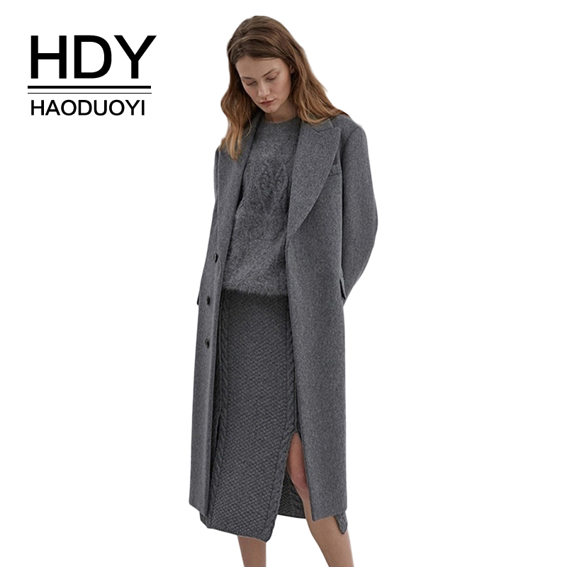 HDY Haoduoyi Solid Color Long Lapels Single-Breasted Slim Woolen Coat Solid Streetwear Autumn Trench Coats Women