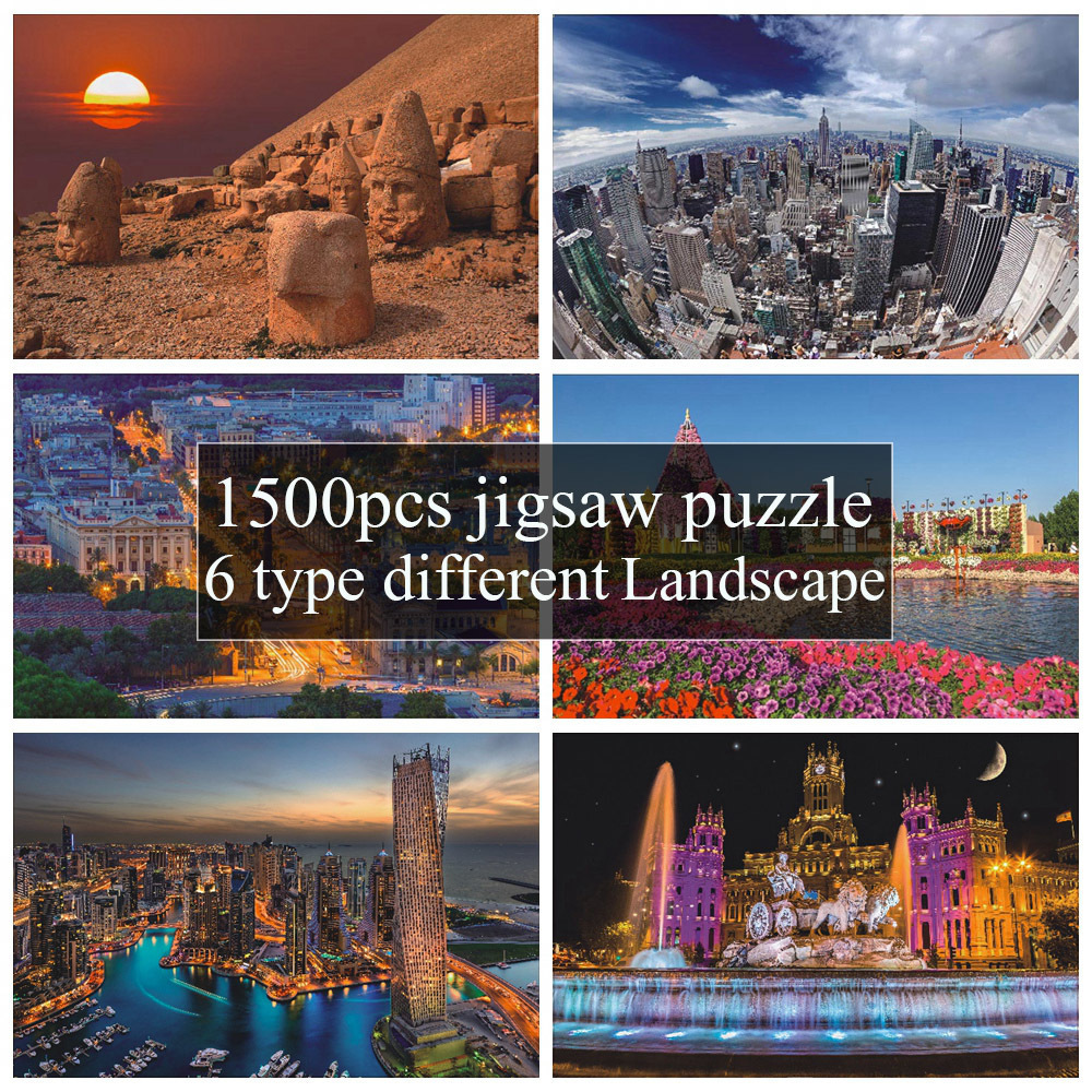 Style New Arrival <font><b>1500</b></font> Pcs Different Country Landscape Painting <font><b>Puzzles</b></font> Wooden Paper <font><b>1500</b></font> <font><b>pieces</b></font> <font><b>Puzzle</b></font> Toy Gift for Festival image
