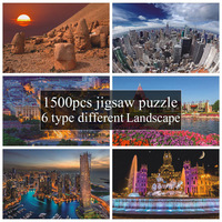 Style New Arrival 1500 Pcs Different Country Landscape Painting Puzzles Wooden Paper 1500 pieces Puzzle Toy Gift for Festival