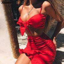 Xnxee Ruffle halter pleated women dress Sexy v nerk party beach dress summer Bow tie bodycon mini dress female dress vestidos