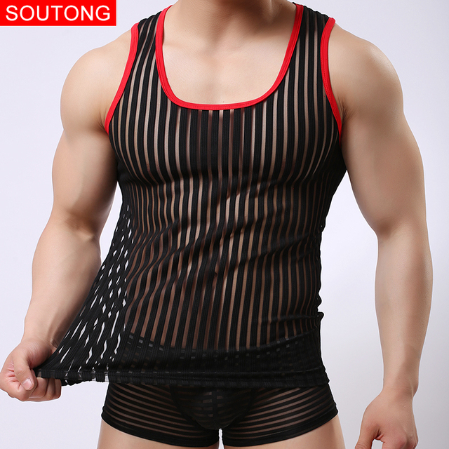 fd9ca97896945 Brand Men Sexy Tank Tops Mesh Male Breathable Tank Tops Undershirts Vest Net  Tank Tops Men Summer Undershirts Vest bx06-in Tank Tops from Men s Clothing  on ...