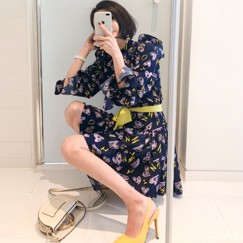CINESSD Sexy Elegant Flower Print for Women halloween Dresses Long Sleeve Polyester Stand Neck Casual Party Vestidos Plus Size 5