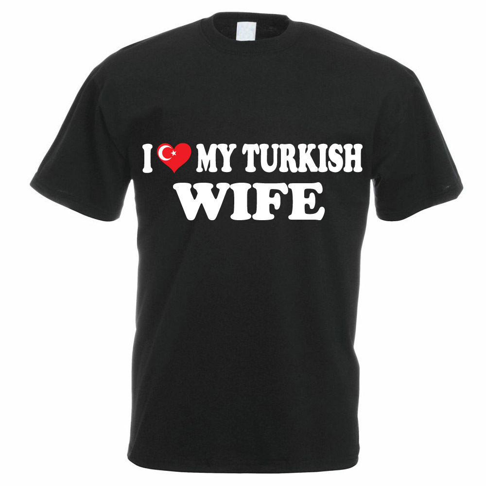 Design Shirts Broadcloth O Neck Short Sleeve I Love My Turkish Wife Turkey Family T Shirt For Men in T Shirts from Men 39 s Clothing