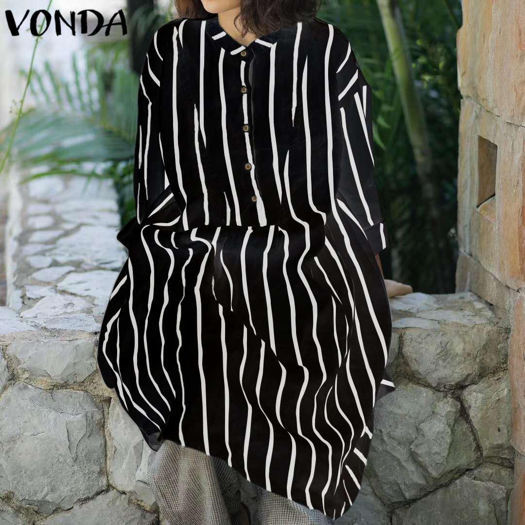 VONDA Women Stripe Shirt Dress 2018 Autumn Spring Casual Loose Lapel Long Sleeve Buttons Casual Knee-length Plus Size Vestidos