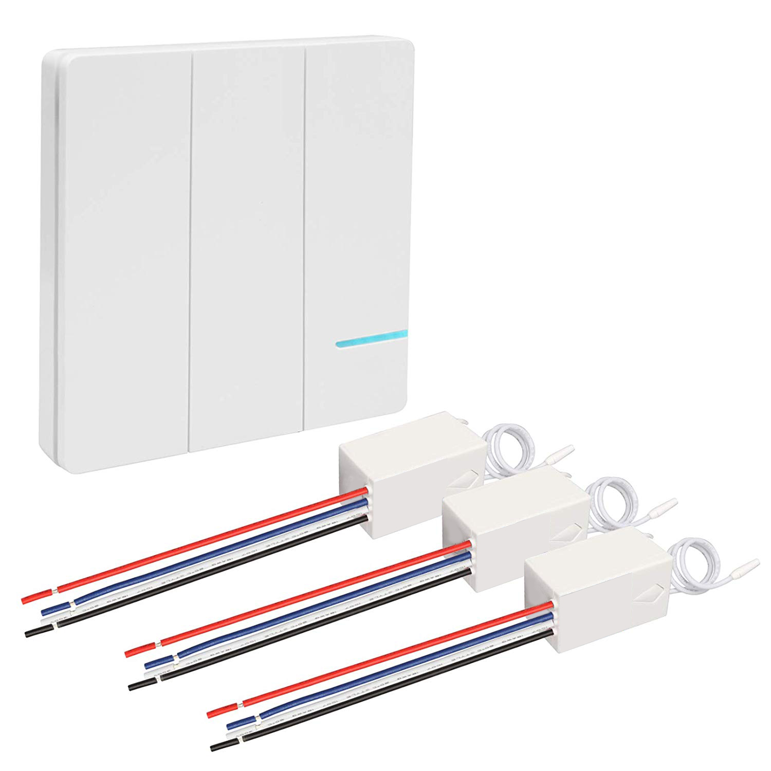 3 Way Remote Wireless Light Switch Receiver Kit Waterproof,easy Installation,no Wiring,on/off Control Multiple Lights