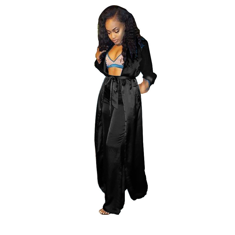 Women Satin Silk Open Front Cardigan 2 Piece Outfits V Neck Solid Color Kimono Cover Up With Wide Leg Pants Sets in Women 39 s Sets from Women 39 s Clothing