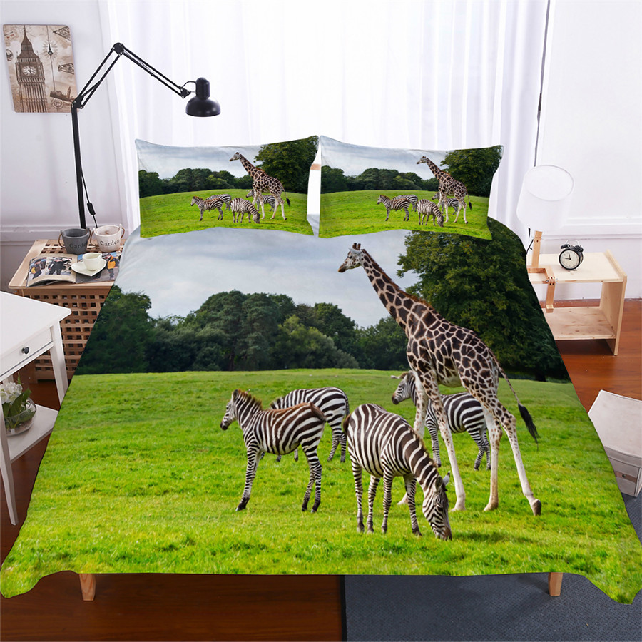Bedding Set 3D Printed Duvet Cover Bed Set Giraffe Animal Home Textiles for Adults Lifelike Bedclothes with Pillowcase #CJL18-in Bedding Sets from Home & Garden
