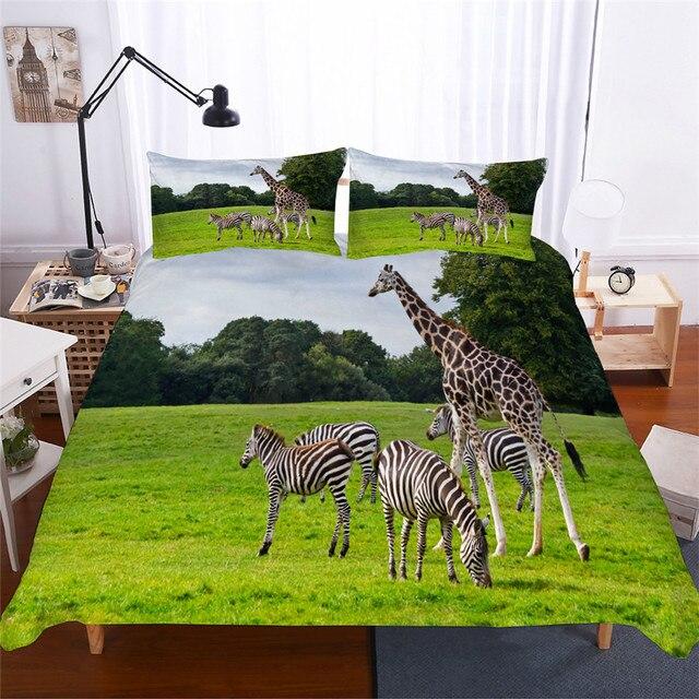 Juego de cama con edredón estampado en 3D, juego de cama con jirafa, Textiles para el hogar para adultos, ropa de cama realista con funda de almohada # CJL18