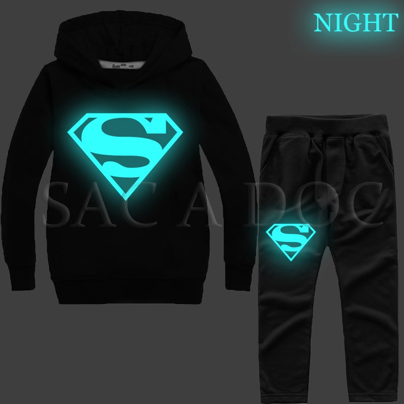 Hoodies & Sweatshirts Pants Constructive Superman Luminous Kids Tracksuit Boys Girls Sportswear Sweatshirt Autumn Winter Superhero 2pcs Set Hoodies
