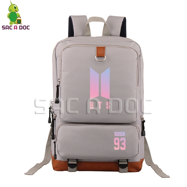 5a7848a22a BTS SUGA 93 Backpack Women Men Canvas Backpack Kpop Bangtan Boys Young  Forever Travel Bags for