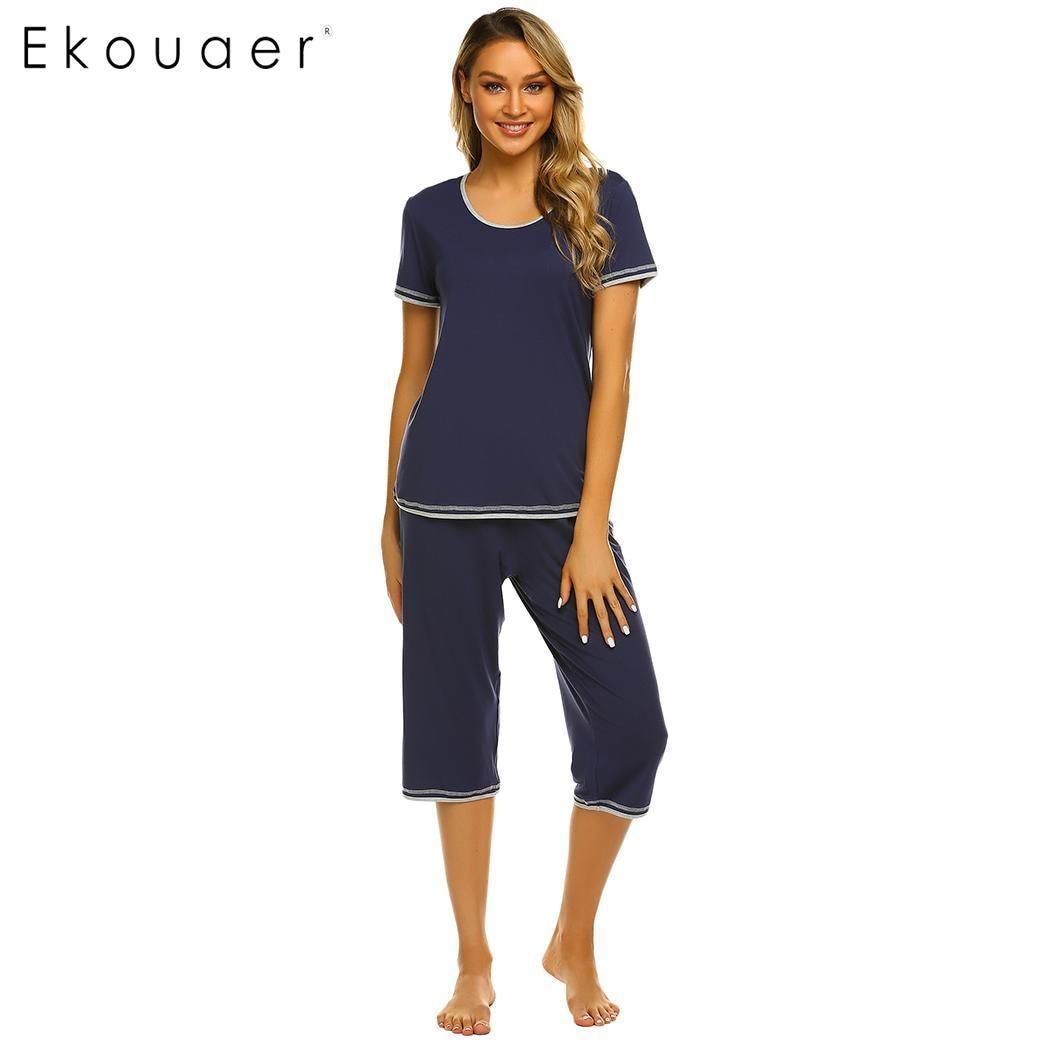 Ekouaer Women Sleepwear   Set   O-Neck Short Sleeve Top Calf Length Pants Loose Two Piece   Pajamas     Sets   Female Homewear