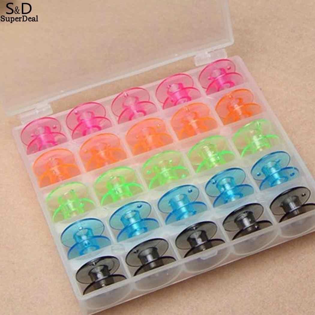 Şeffaf vb DİKİŞ MAKİNESİ Fabrika 25 Plastik Bobin Aksesuar Dikiş Mağazası Konfeksiyon Adet/Kutu Ev Karışık Renk Iplik