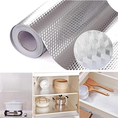 Self Adhesive Waterproof Wallpaper For Kitchen Sticker DIY Home Decor Wallpaper  High Quality Aluminum Foil Sticker