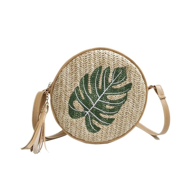 d9c957f60 LJL redondo para mujeres Bolsas de paja hojas tejido de mimbre playa bolsos  de hombro señoras bolso mujer Bohemia hechos a mano