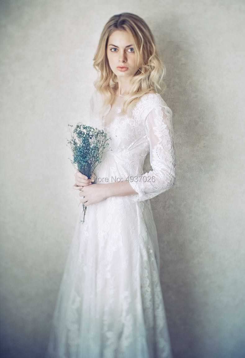 Bohemian Style Bride Lace Ourdoor Wedding Dress With White Lace And Beige Lining Long Sleeves Evening Dress Chic Ball Gown