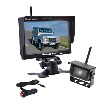"12V 24V Wireless 7"" Hd Tft Lcd Vehicle Backup Rear View Camera Monitor + Car Charger For Trucks Bus Rv Trailer Excavator"