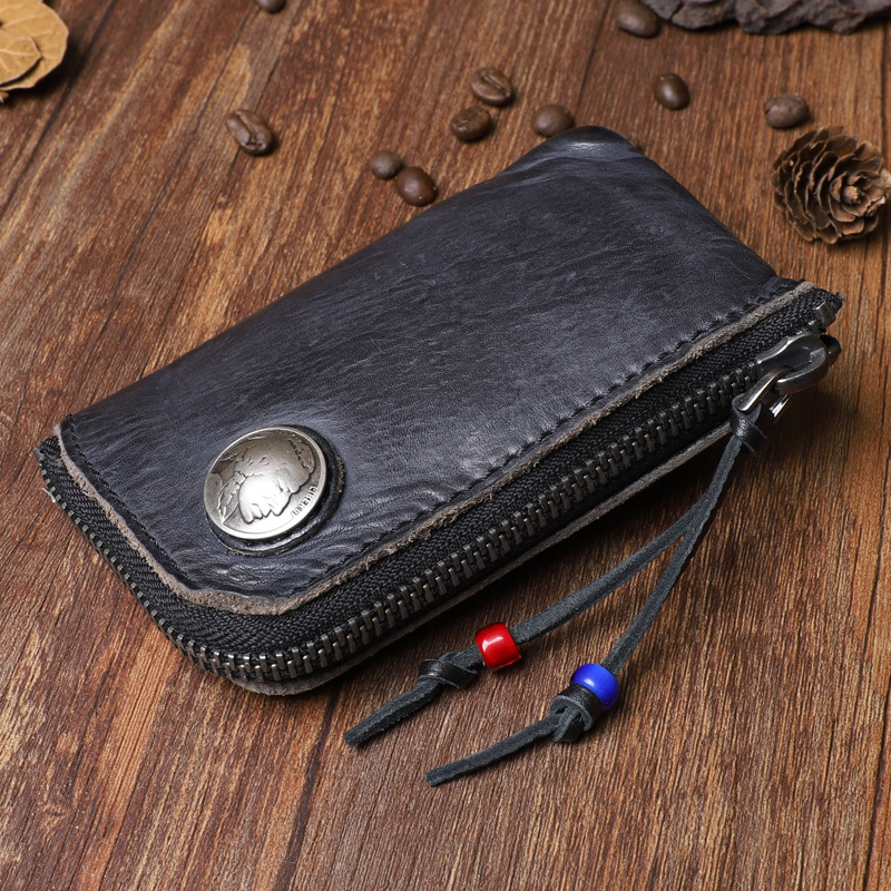 Genuine Leather Mini Men Coin Purse Men's Retro Vegetable Tanned Cowhide Thin Zipper Small Wallets Cards Holder Man Coin Pouch