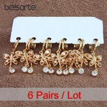 Женские золотые серьги бабочки 6 пар bijoux femme pendientes