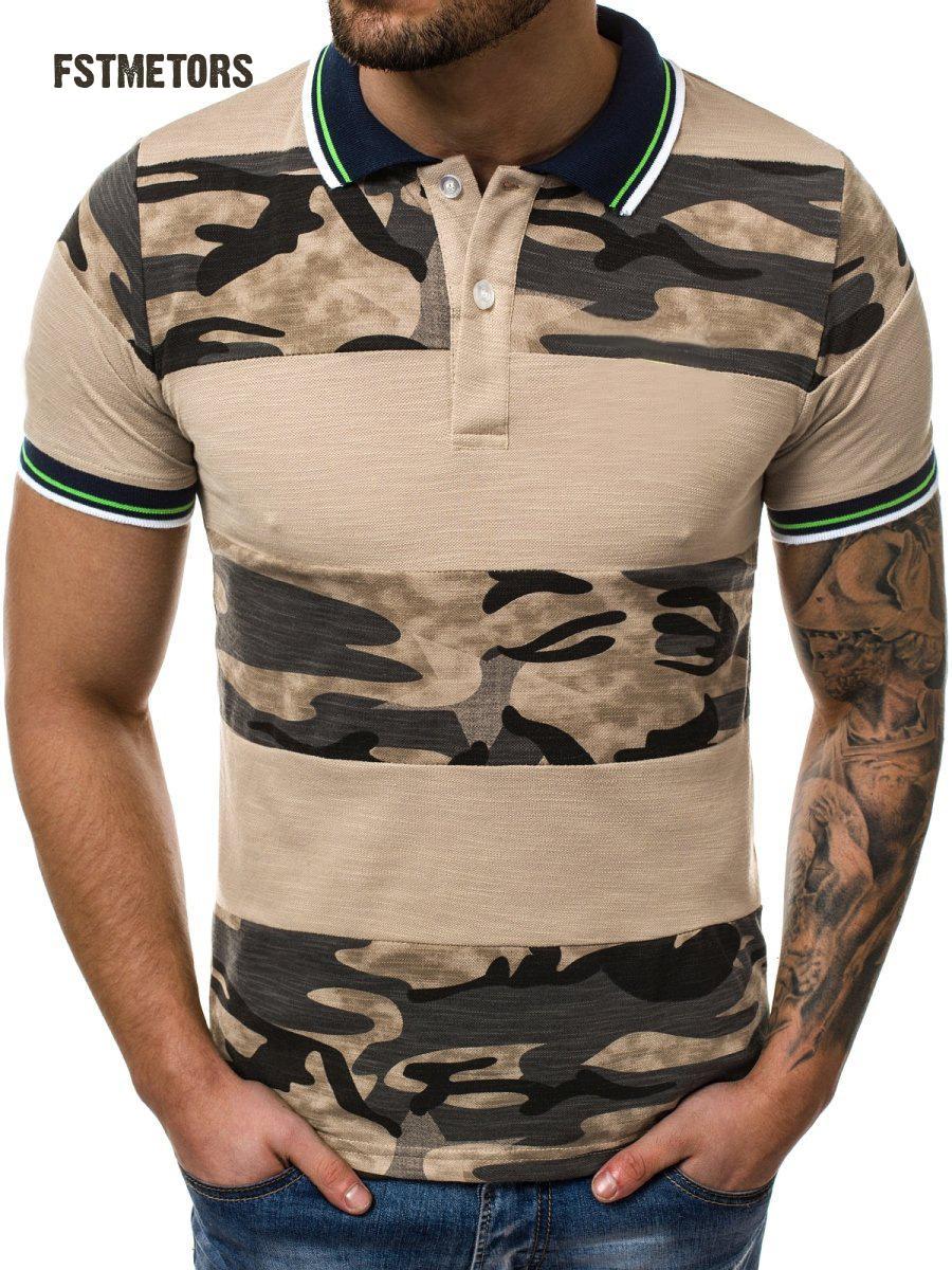 2019 summer men's   polo   shirt fashion casual stitching 3D printing men's lapel camouflage slim sports   polo   shirt