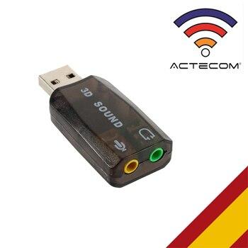 ACTECOM-Tarjeta de Sonido Externa USB, Sonido 3D 5,1, para PC, DJ Virtual