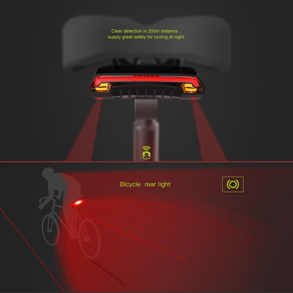 Wireless Bicycle Rear Light Bike Remote Wireless Light Turn Signal LED Beam USB Rechargeable Cycling Tail Light bike tools-in Bicycle Light from Sports & Entertainment    1