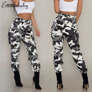 Image 3 - Womens Camo Cargo Trousers Casual Pants Military Army Combat Camouflage Jeans Fashion High Waist Long Pants Warm Spring Trousers