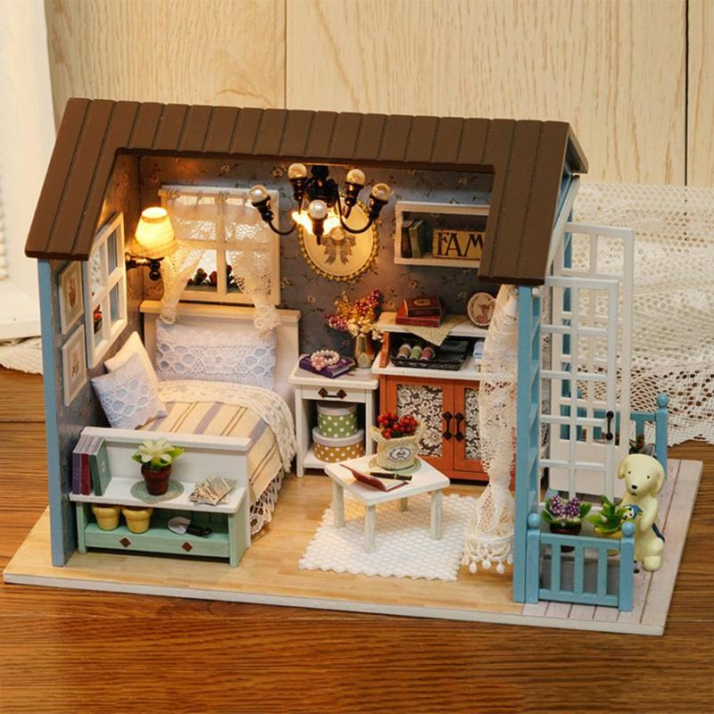 American Style Wooden Toys For Children Classical House DIY Mini Dollhouse Toys With LED Light Handmade Doll House Furniture Kit