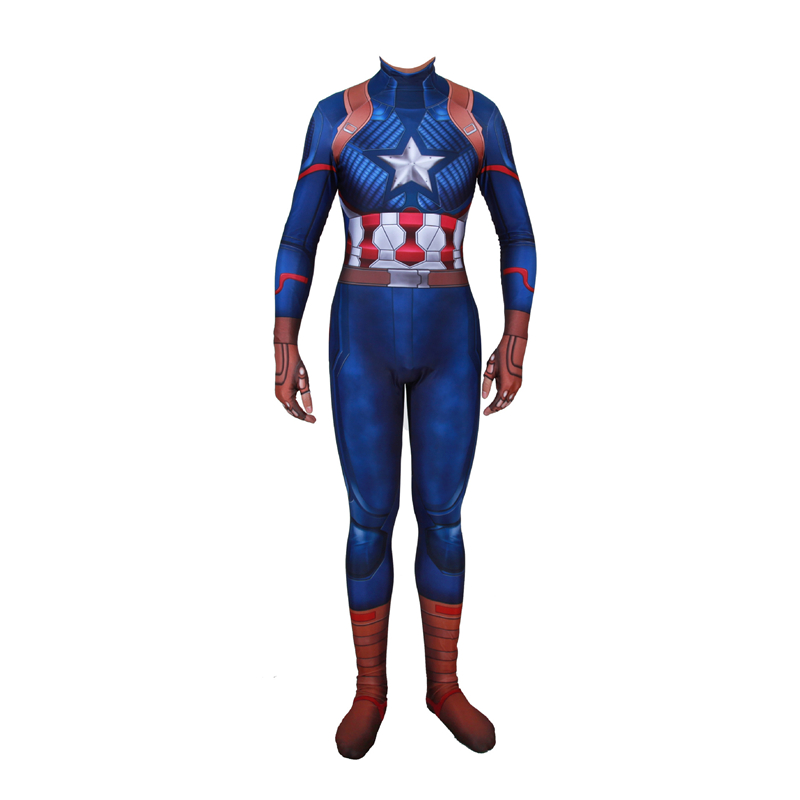 Adult Captain America Costume Superhero Cosplay Costumes Adult Men Halloween Costumes For Men Adult 3D Printing Jumpsuit Suit